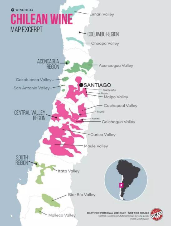 智利葡萄酒产区地图