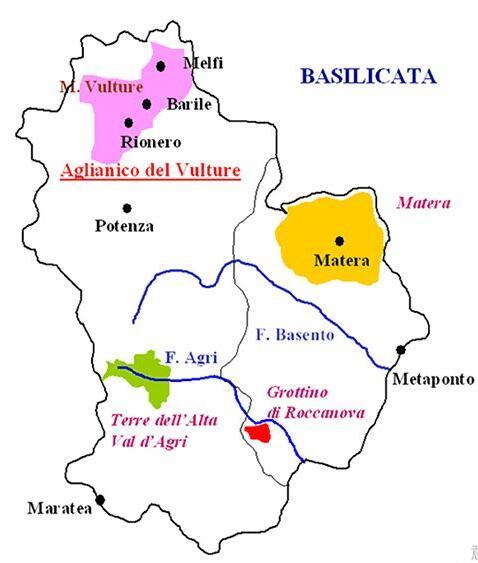 巴斯利卡塔(Basilicata)产区地图