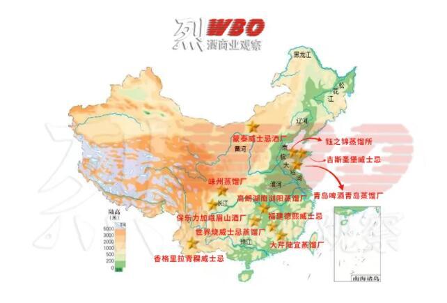 中国威士忌分布地图